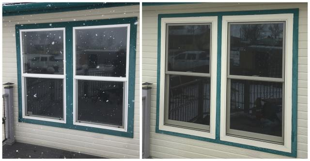 Saratoga, WY - Updated the look and function of these old vinyl windows with new Renewal by Andersen Fibrex windows in Saratoga.