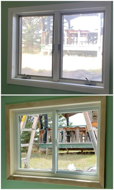 Cody, WY - Wood casement windows were replaced with Fibrex gliders on this home in Cody!