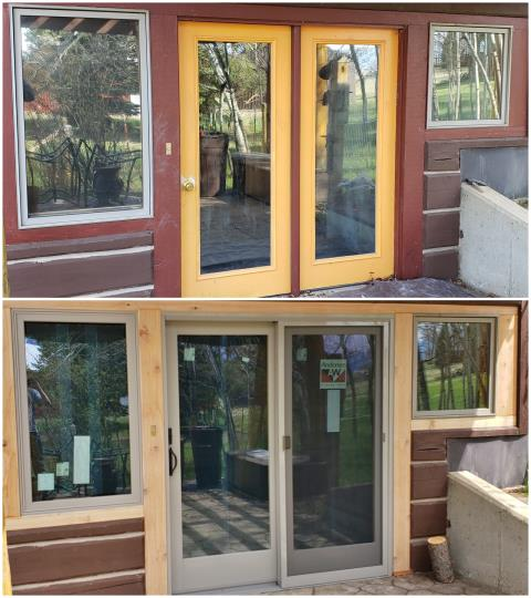 Roberts, MT - This home in Roberts gets phase 2 of a remodel project by replacing a wood hinged door with a new glider and replaced an aluminum window with a new fibrex picture window.