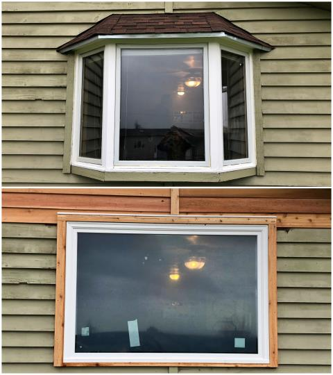 Evansville, WY - We replaced this old bay window with a new Renewal by Andersen picture window in Evansville!