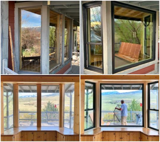 Gardiner, MT - Removed old rotten wooden windows and replaced with new Fibrex Renewal by Andersen windows in Gardiner!