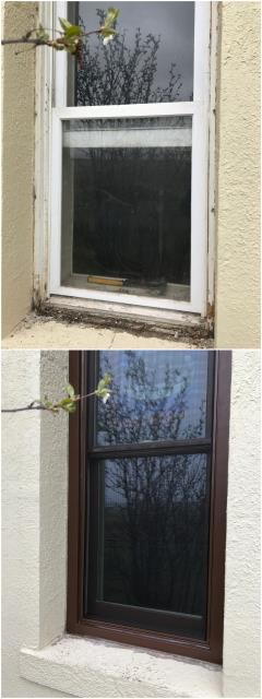 Cheyenne, WY - These old rotting wood windows on this home in Cheyenne got replaced with new Renewal by Andersen Fibrex windows.