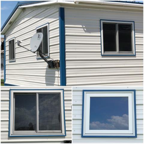 Moccasin, MT - We updated seven windows in this modular home in Moccasin.  These windows look great with the newly installed siding