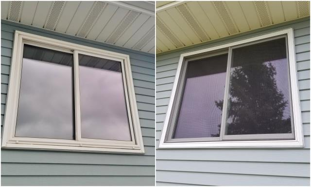 Gillette, WY - Replaced these old leaking vinyl replacement windows with Renewal by Andersen windows.
