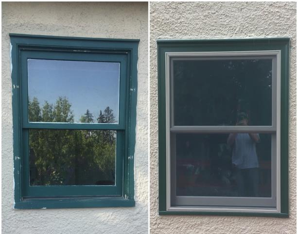Kalispell, MT - This home in Kalispell updated these old wood windows with new Fibrex windows.
