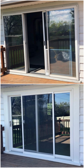 Great Falls, MT - We updated this three panel aluminum patio door for a two panel glider in Great Falls, Montana.  The new patio door will be much more efficient and looks great!