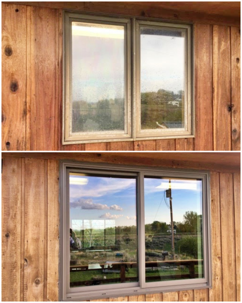 Cody, WY - In this Cody, Wyoming house, we replaced the old leaking windows with new Renewal by Andersen windows.  What a great face-lift for this home!