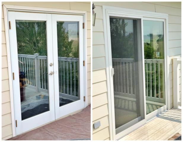 Helena, MT - In this Helena home we replaced this patio door with a Renewal by Andersen gliding patio door, in addition to replacing two old windows with new gliders.