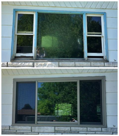Gering, NE - We replaced a wood/brick mold double hung window with a new Fibrex triple gliding window from Renewal by Anderson in this Gering home.