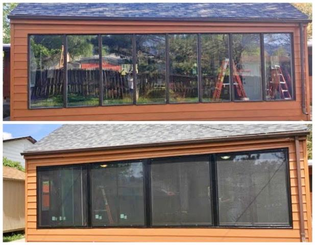 Casper, WY - We replaced eight non-opening units with four gliding Renewal by Andersen windows in this Casper sun room, which now has a beautiful view and windows that can help regulate the temperature.