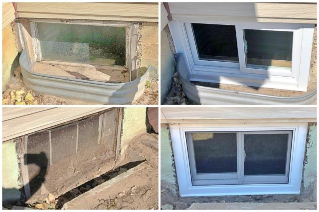 Scottsbluff, NE - These Renewal by Andersen Fibrex windows were a fantastic upgrade from these old wooden basement windows in this Scottsbluff home.