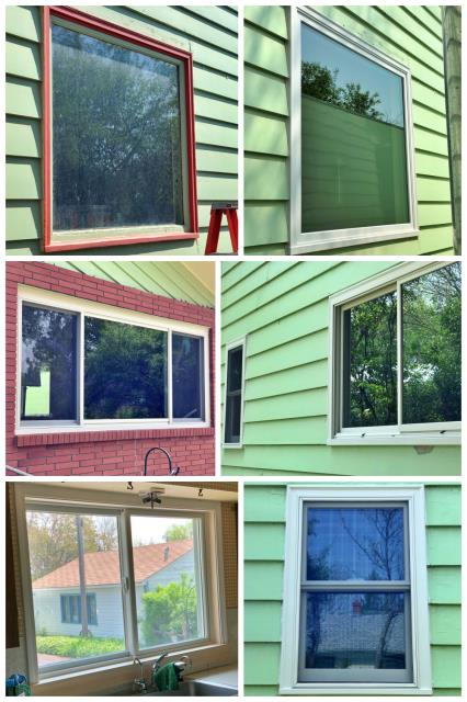 Great Falls, MT - Five Fibrex windows were installed in this Great Falls home after removing the old, red weathered windows.  We think the new windows cleaned up the home beautifully!