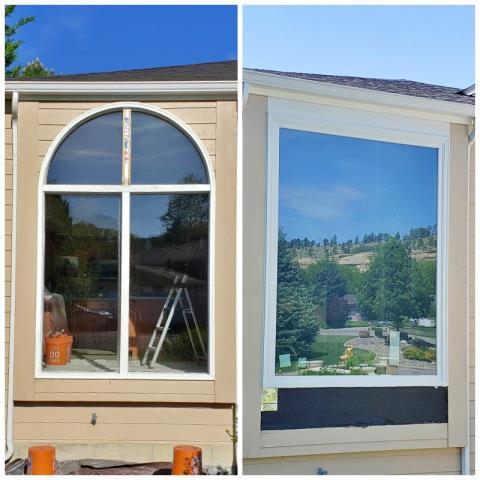 Billings, MT - This Billings home gets a big face lift by removing an old arch style window and replacing it with a Renewal by Andersen brick mold picture window.