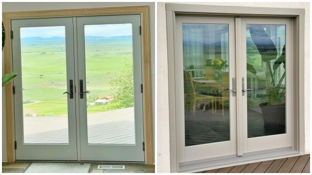 Great Falls, MT - We installed one Renewal by Andersen french wood patio door in this beautiful stucco country home outside of Great Falls.