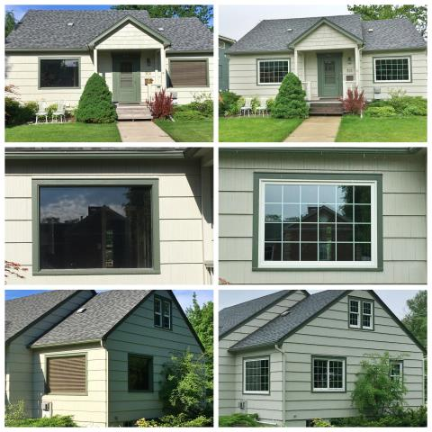 Kalispell, MT - This Kalispell home upgraded their curb appeal by replacing multiple old windows with new Renewal by Andersen Fibrex windows.