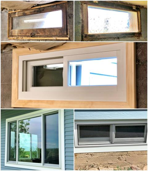 Belt, MT - In this Belt home, we replaced the old rotting wooden windows with Renewal by Andersen Fibrex windows.  In the basement, the buck frames were replaced, and custom metal wrapping was completed on the exteriors to ensure an airtight seal. Talk about a transformation!