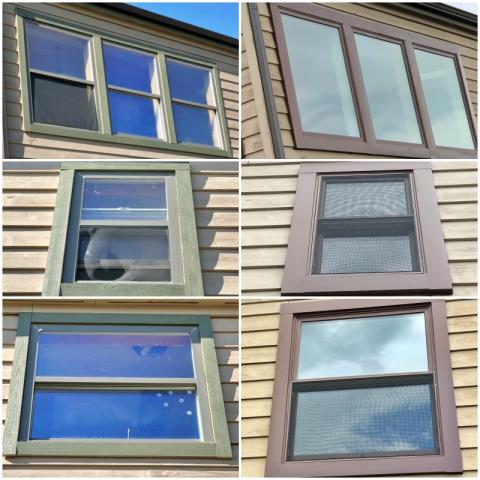 East Helena, MT - We updated 6 windows with new Renewal by Andersen Fibrex efficient windows in this country home in East Helena and custom wrapped them with cocoa bean metal.