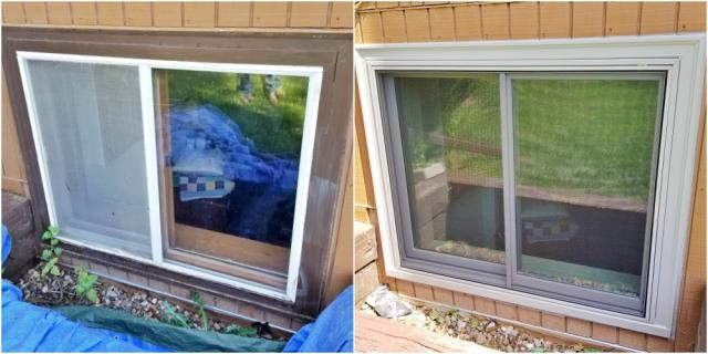 Rapid City, SD - This Rapid City repeat customer had their old wood-clad windows replaced with a Renewal by Andersen Fibrex frame window.