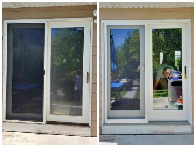 Torrington, WY - This Powell home upgraded their aluminum clad patio door to a Renewal by Andersen Fibrex in-swing door.