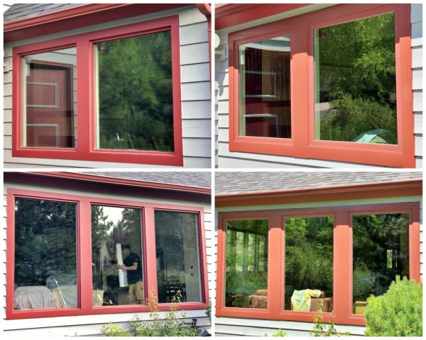 Helena, MT - In this Helena home, we installed new Renewal by Andersen Fibrex windows with custom red rock metal to match their existing gutters.