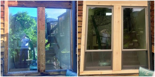 Bozeman, MT - This Bozeman home replaced their two old broken windows with new Renewal by Andersen Fibrex windows.  What an amazing transformation!