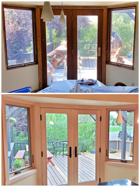 Bozeman, MT - We love this beautiful upgrade to this Bozeman home.  We replaced the aluminum clad casements and single hinged door with Renewal by Andersen Fibrex casements and an A-Series Frenchwood in-swing door with maple interiors.