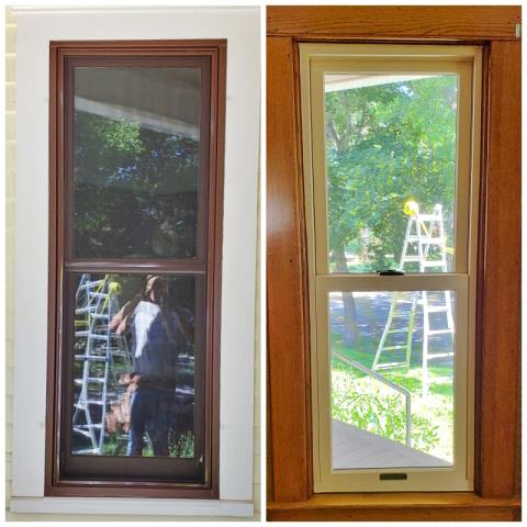 Bozeman, MT - This Bozeman home received new Renewal by Andersen Fibrex double hung windows, replacing their old wood frame windows.