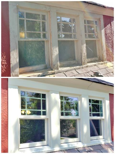 Billings, MT - This Billings home received a major face-lift when they upgraded their old wooden windows to Renewal by Andersen Fibrex windows.  We love this transformation!