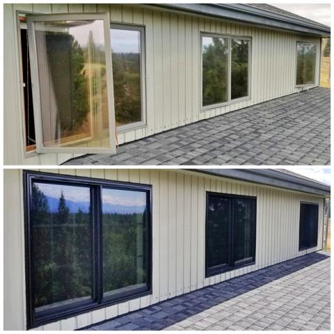 Florence, MT - This Florence home upgraded their old windows to more efficient Renewal by Andersen Fibrex windows, increasing their curb appeal, as well!