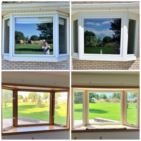 Cody, WY - It is amazing what a new window can do for your curb appeal!  This Cody home upgraded their bay to a beautiful, sleek Renewal by Andersen Fibrex bay window.