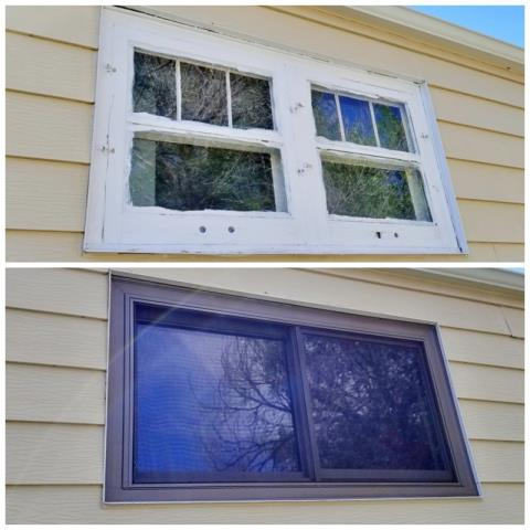 Lusk, WY - Wow, wow, wow!  The exterior transformation of this Lusk home is incredible just by updating old windows to Renewal by Andersen Fibrex windows, not to mention the energy savings they will most certainly see!