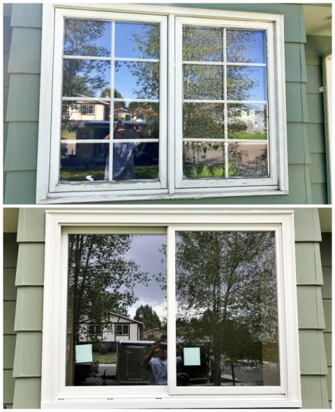 Laramie, WY - This Laramie home upgraded their old wooden windows to Renewal by Andersen Fibrex windows, increasing their energy efficiency and their curb appeal.