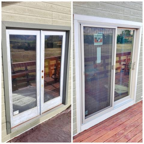 Livingston, MT - We love this transformation in this Livingston home.  They increased their efficiency and their curb appeal when they upgraded their patio door to a Renewal by Andersen Fibrex slider.