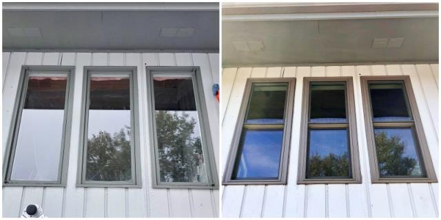 Great Falls, MT - This Great Falls home upgraded their old wooden windows to Renewal by Andersen Fibrex windows, increasing energy efficiency and curb appeal.