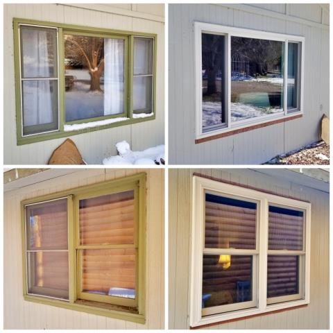 Cascade, MT - This Cascade home upgraded their old wooden windows to new Renewal by Andersen Fibrex windows.