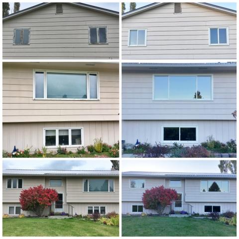 Kalispell, MT - This Kalispell home upgraded their old wood windows to new Renewal by Andersen Fibrex windows.