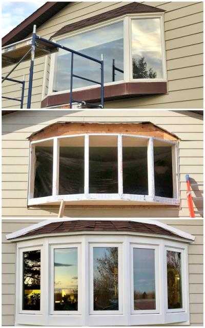 Great Falls, MT - This Great Falls home upgraded their old bay to a new Renewal by Andersen five bow bay window, increasing efficiency and curb appeal.