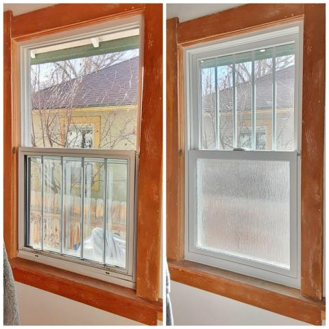 Laramie, WY - This Laramie home upgraded their old wood windows to Renewal by Andersen Fibrex windows with privacy panes, increasing energy efficiency, as well.