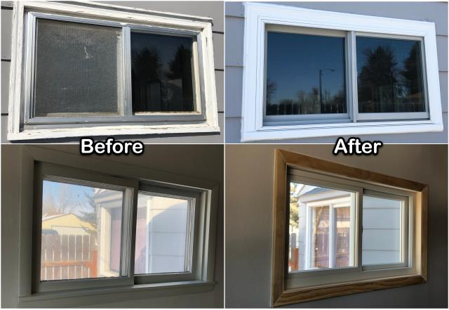 Havre, MT - Check out this Inside/outside view of this job we recently did in Havre replacing this wooden window with a new Fibrex® gliding window!