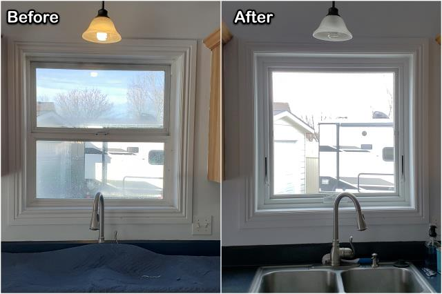 Billings, MT - This Billings homeowner updated their kitchens look by replacing an old double-hung window with this new RbA Fibrex® awning window!
