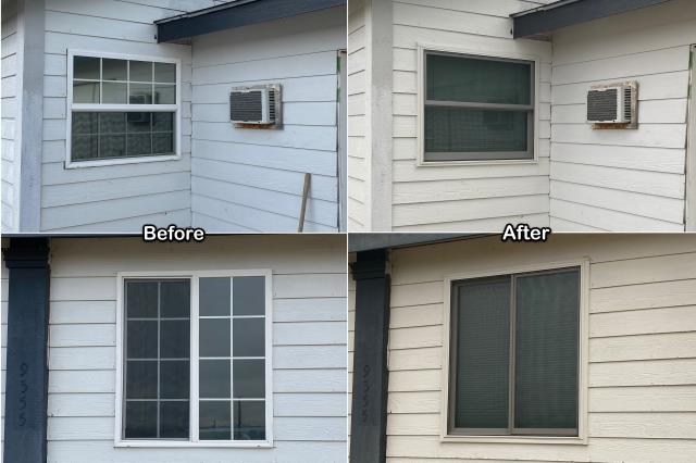Three Forks, MT - We replaced these old vinyl windows on this home in Three Forks with new Fibrex® gliding & double-hung windows!