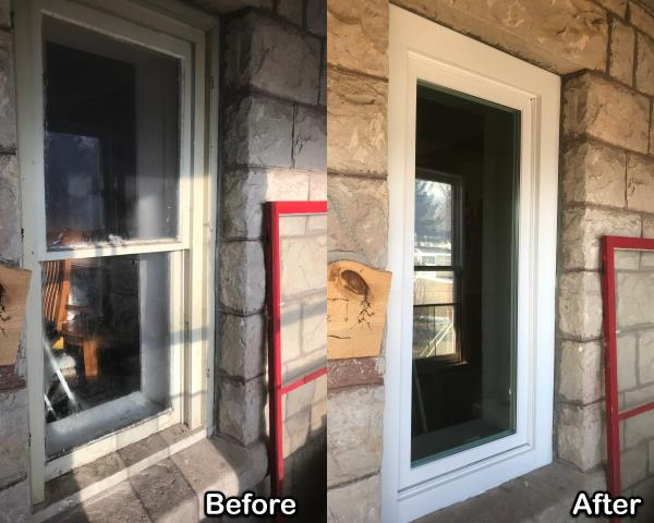 Lewistown, MT - This customer in Lewistown replaced old wooden windows with new Fibrex® windows updating the look and efficiency of their home!