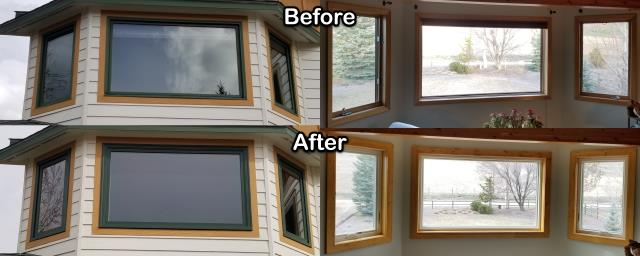 Florence, MT - We replaced these old windows with new RbA Fibrex® windows on this home in Florence.