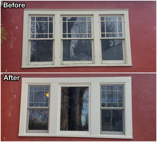 Billings, MT - This homeowner in Billings replaced these old wooden windows with this new fibrex® picture / double-hung combination window.