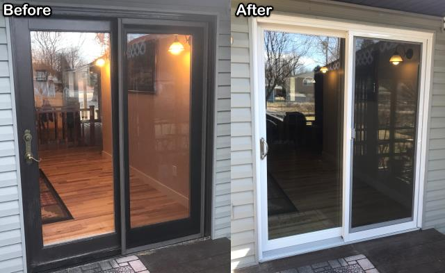 Billings, MT - We replaced this old inefficient French patio door with this new RbA Sliding patio door on this home in Billings.