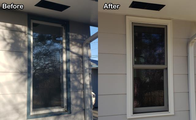 Billings, MT - This Billings homeowner replaced this old inefficient casement window with a new Fibrex® Double-hung window!