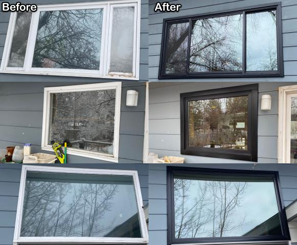 Bozeman, MT - This Butte homeowner replaced their old inefficient windows with these sharp looking black Fibrex® windows!