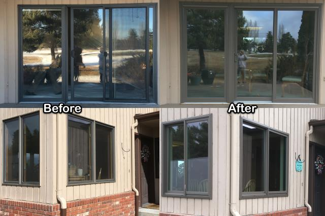 Kalispell, MT - This Kalispell customer replaced several windows and a patio doors with new Renewal by Andersen Fibrex® windows and Perma-Shield® doors