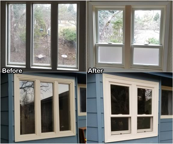 Missoula, MT - We replaced this triple picture window with two double-hung RbA Fibrex® windows on this home in Missoula!