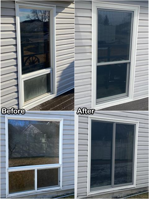 Belgrade, MT - Old failing windows got switched out with new Fibrex® Double-hung & Gliding Windows on this home in Belgrade.